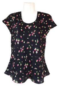 Jones New York Floral Silk Top black