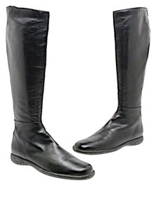 Stuart Weitzman Tall Flats Rear Zip Black Boots