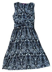Velvet by Graham & Spencer short dress Black and cream Damask Anthropologie Lbd Ikat Floral on Tradesy