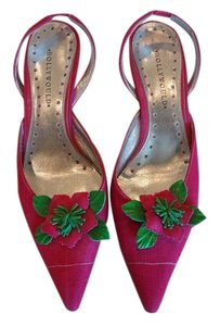 Hollywould Fabric Slingback Pink Pumps
