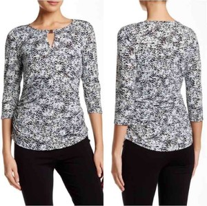 Vince Camuto Quarter Sleeve Ruched Keyhole Metal Top white, black, aqua