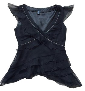 Laundry by Shelli Segal Silk Crystal Embellished Ruffle Anthropologie Top Black