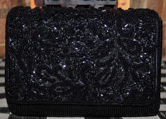 Talbots Sequin Beaded Custom Satin Black Messenger Bag