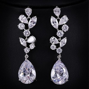 Bridal Branch Tear Drop Earrings