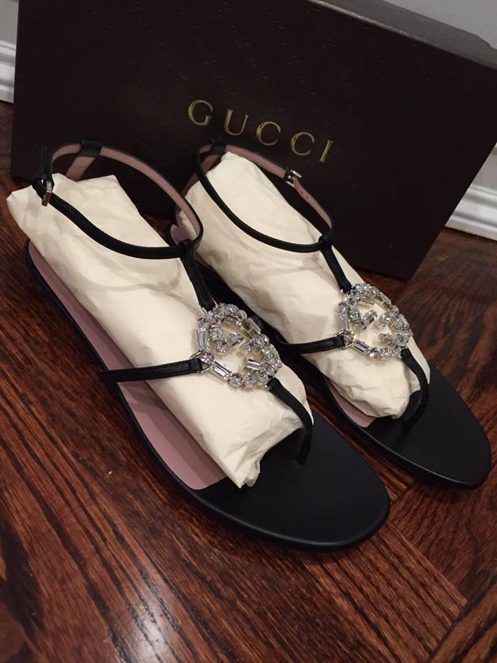 dcc908ef8c4 Gucci Black Leather Gg Silver Crystal Thong Flat 39 Sandals Size US ...