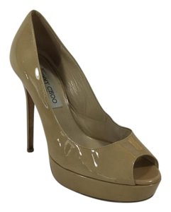 Jimmy Choo Leather Platform Nude Pumps