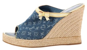 Louis Vuitton Peep Toe Lv.k0527.18 Blue Jute Sandals Blue Monogram Wedges