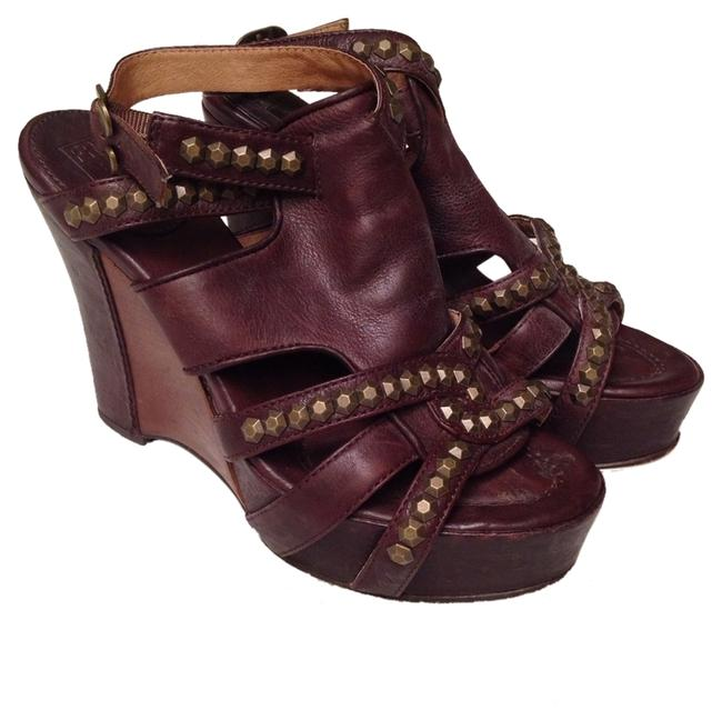 Item - Mohogany Brown Rosy with Honeycomb Studs Wedges Size US 7 Regular (M, B)