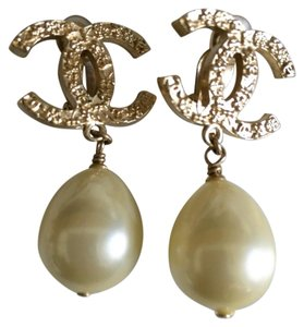 Chanel Authentic Chanel Gold Plated CC Pearl Dangle Clip on Earrings