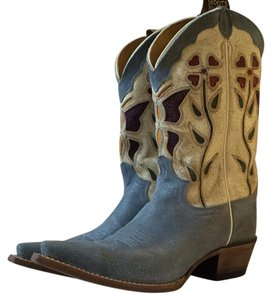 Justin Vintage Cowboy Light blue and brown Boots