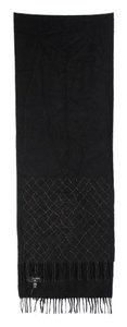 Chanel Chain Quilted Long Fringe Scarf