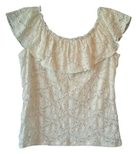 G Wheels Stretch Lace Cruisewear Top Cream