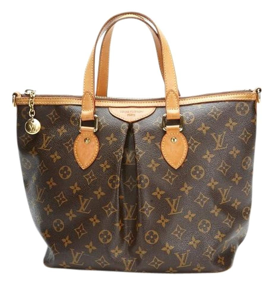 louis vuitton palermo pm brown coated canvas tote tradesy