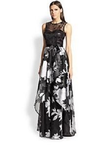 Teri Jon Black- Silver Black Silver Sequin Lacetoplayeredsleevlees Evening Dress Gown Dress