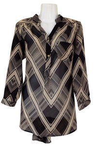 Truth NYC Sheer High Low Buttons Pocket Top tan, brown, black