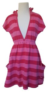 Victoria's Secret Pink Striped Hooded Beach Cover Up