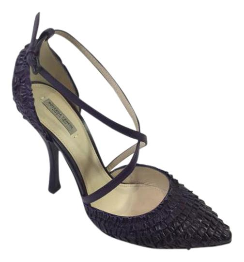 Bottega Veneta Purple Ruffle Layered Pointed Toe Smooth Plum Sandals