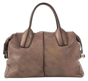 Tod's Td.k0519.20 Tan Brown Leather Gold Hardware Satchel