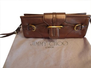 Jimmy Choo Metallic Wristlet Bronze Clutch