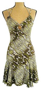 Just Cavalli short dress Green, Brown Stretchy Animal Print Straps Keyhole Open Back on Tradesy