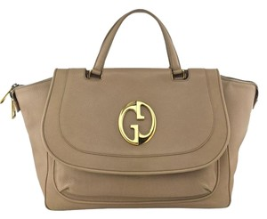 Gucci Gold Hardware Logo Satchel in Leather