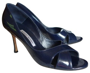 Manolo Blahnik Patent Leather D'orsay Navy Pumps