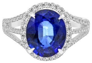 Avi and Co 4.62 ct Oval Shape Blue Sapphire in Platinum Diamond Halo Engagement Ring