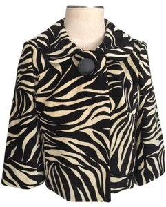 MILLY New Zebra Velvet Cropped black & ivory Blazer