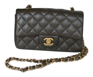 Chanel Rectangular Mini Mini Caviar Grey Cross Body Bag