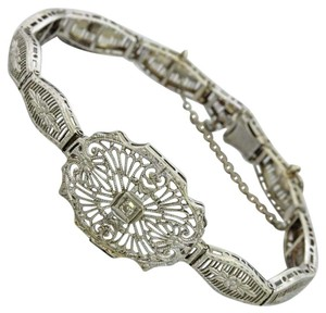 1930s Antique Art Deco 10k Solid White Gold Diamond Floral Filigree Bracelet