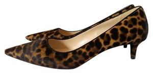 Prada Leopard Calf-hair Pointed Toe Brown Pumps