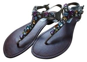 Steve Madden Leather Mad-made Sol Embellished Multi Color/Silver Sandals