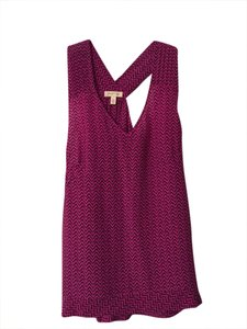 Silence + Noise Silk Top Magenta and black
