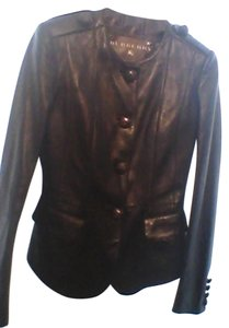 Burberry Leather Back Side Stiching Dark Brown Leather Jacket