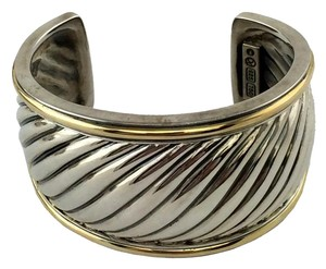 David Yurman David Yurman Sterling Silver 18k Gold Sculpted Cable Cuff Bracelet