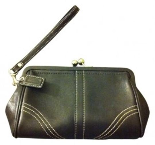 Coach Leather Wristlet in Black