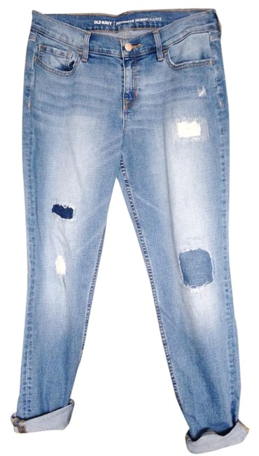 Old Navy Boyfriendjeans Patchjeans Boyfriend Cut Jeans-Light Wash