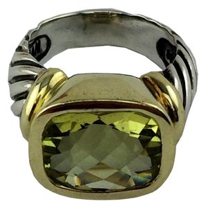 David Yurman David Yurman Sterling Silver 14k Gold Citrine Noblesse Cable Ring