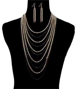 unbranbded Chain Layered Necklace Set