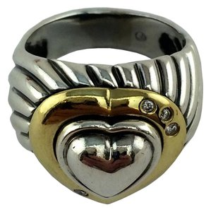 David Yurman David Yurman Sterling Silver 14k Gold Cable Heart Ring