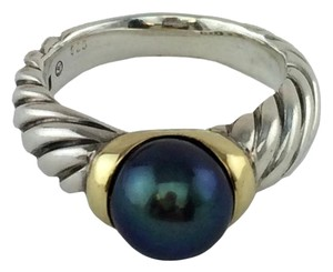David Yurman David Yurman Sterling Silver 18k Gold Tahitian Pearl Cable Ring