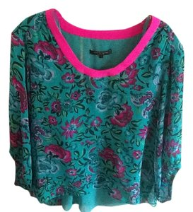 Nanette Lepore Silk Top Teal and Fuchsia