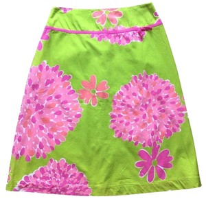 Lilly Pulitzer Preppy And Floral A-line Skirt Pink, Green, White