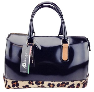 Asia Bellucci Patent Leather Pony Hair Satchel in Black and Leopard