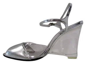 Stuart Weitzman Open Toe Ankle Strap Clear Silver Pumps