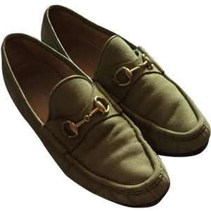 Gucci Suede Loafers Casual Green Flats