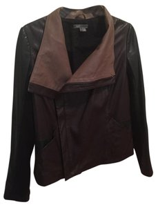 Vince Leather Scuba Black and tan Leather Jacket