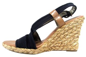 Banana Republic Strappy Buckle Open Toe Wicker Blue Wedges