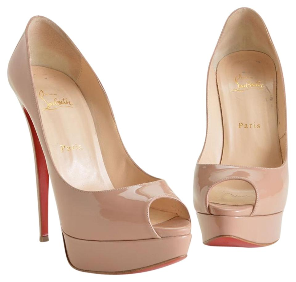 cheap prices limited guantity best Christian Louboutin Nude Rdc6156 Patent Lady Peep Heels Pumps Size ...