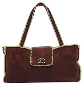 Chanel Shearling Tote in Burgandy